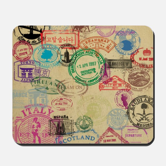 Vintage Passport Stamps Mousepad