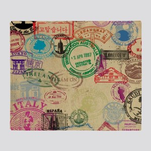 Vintage Passport Stamps Throw Blanket
