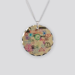 Vintage Passport Stamps Necklace Circle Charm