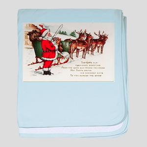 Merry Christmas Greetings Santa And H baby blanket