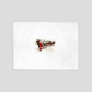 Merry Christmas Greetings Santa And 5'x7'Area Rug