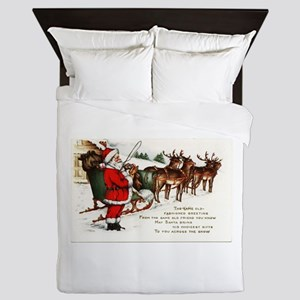 Merry Christmas Greetings Santa And Hi Queen Duvet