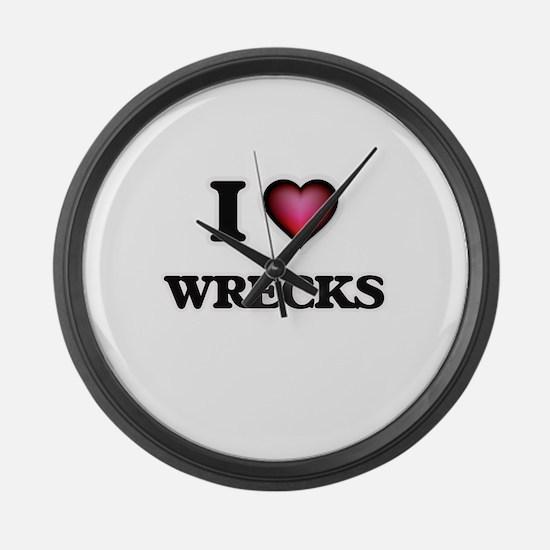 I love Wrecks Large Wall Clock
