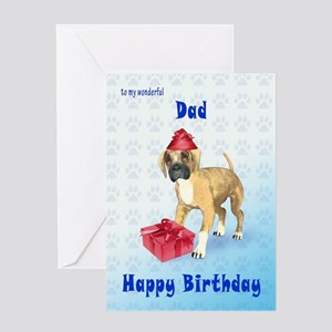 Birthday card for a dad with a boxer puppy Greetin