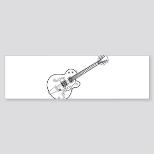 Country and Western Guitar Outline Bumper Sticker