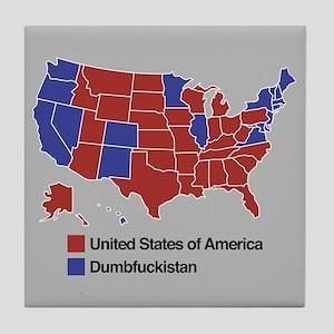 Map of Dumbfuckistan Tile Coaster