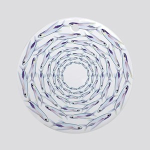 Flying Fish Ring Pattern Round Ornament