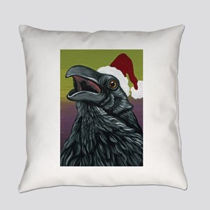 Christmas Crow Raven Bird Wildlife Art-Carla Smale