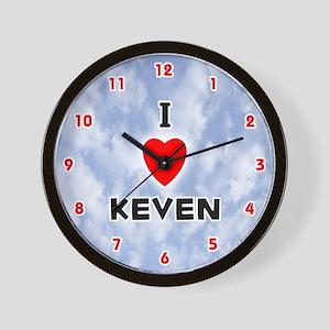 I Love Keven (Red/Blk) Valentine Wall Clock
