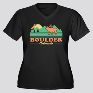 Boulder Colo Women's Plus Size V-Neck Dark T-Shirt