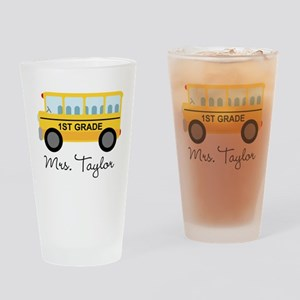 Personalized 1st Grade Teacher Drinking Glass