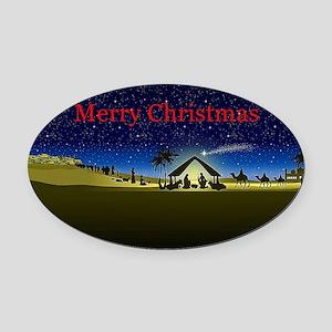 Nativity Merry Christmas Oval Car Magnet