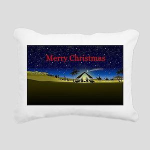 Nativity Merry Christmas Rectangular Canvas Pillow