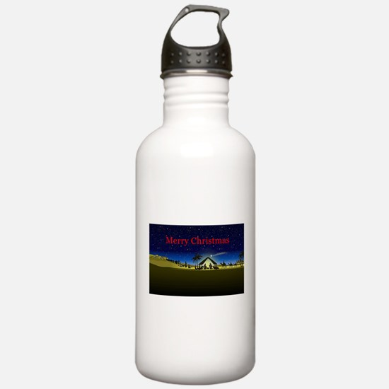 Nativity Merry Christmas Water Bottle