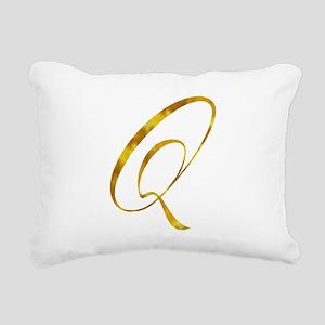 Monogram Q Gold Faux Foi Rectangular Canvas Pillow
