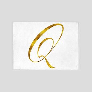 Monogram Q Gold Faux Foil Monograms 5'x7'Area Rug