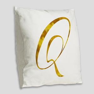 Monogram Q Gold Faux Foil Mono Burlap Throw Pillow