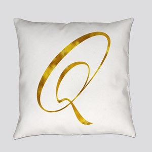 Monogram Q Gold Faux Foil Monogram Everyday Pillow