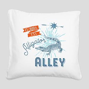 Alligator Alley Florida Everg Square Canvas Pillow