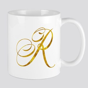 Monogram R Gold Faux Foil Monograms Metallic Mugs
