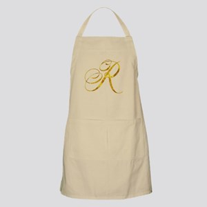 Monogram R Gold Faux Foil Monograms Metallic Apron
