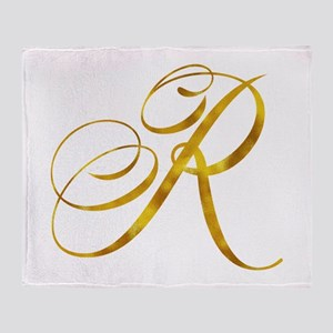 Monogram R Gold Faux Foil Monograms Throw Blanket