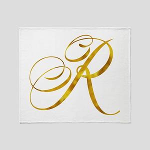Monogram R Gold Faux Foil Monograms Throw Blanket