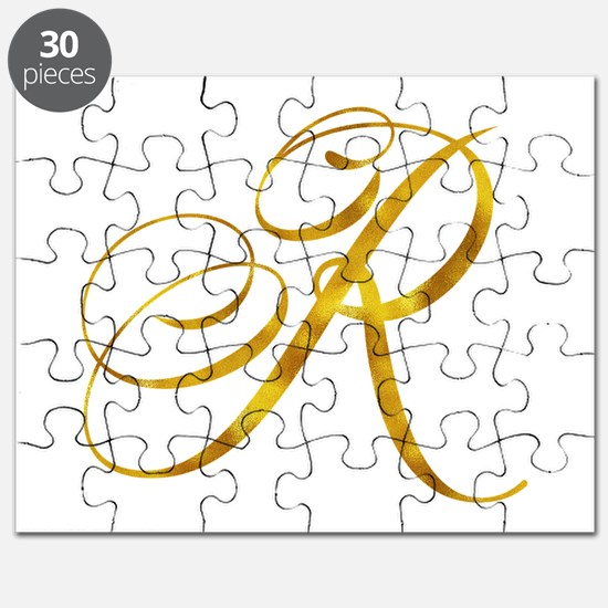 Monogram R Gold Faux Foil Monograms Metalli Puzzle