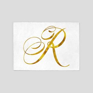 Monogram R Gold Faux Foil Monograms 5'x7'Area Rug