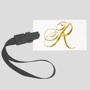 Monogram R Gold Faux Foil Monogr Large Luggage Tag