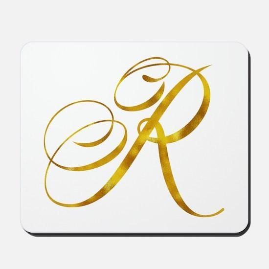 Monogram R Gold Faux Foil Monograms Meta Mousepad
