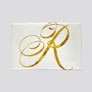 Monogram R Gold Faux Foil Monograms Metall Magnets