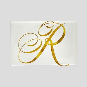 Monogram R Gold Faux Foil Monograms Metall Magnets