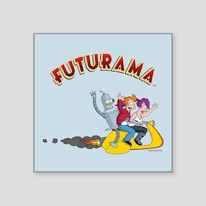 """Futurama Hover Scooter Square Sticker 3"""" x 3"""""""
