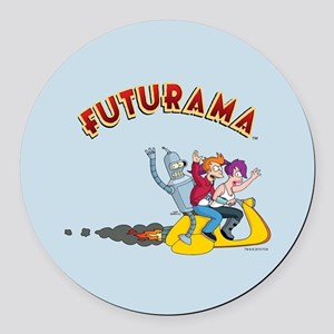 Futurama Hover Scooter Round Car Magnet