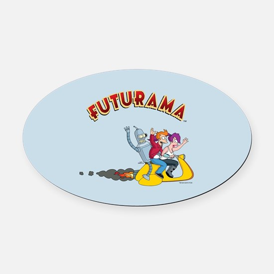 Futurama Hover Scooter Oval Car Magnet