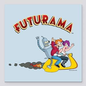 "Futurama Hover Scooter Square Car Magnet 3"" x 3"""