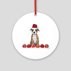 Christmas American Staffordshire Round Ornament