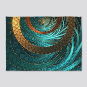 Beautiful Corded Leather Turquoise 5'x7'Area Rug