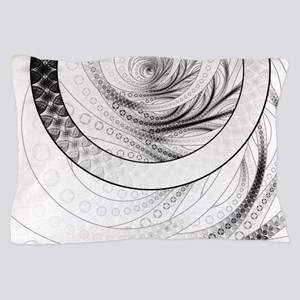 Black and White Circular Fractal of th Pillow Case