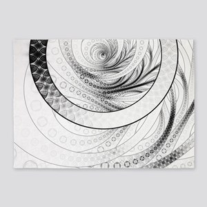 Black and White Circular Fractal of 5'x7'Area Rug