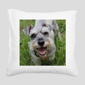 Happy Schnauzer Square Canvas Pillow