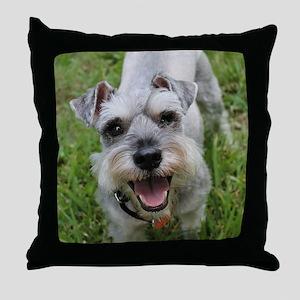 Happy Schnauzer Throw Pillow