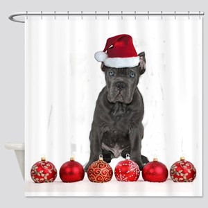 Christmas Cane Corso Puppy Shower Curtain