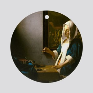 Woman Holding a Balance by Johannes Vermeer Round
