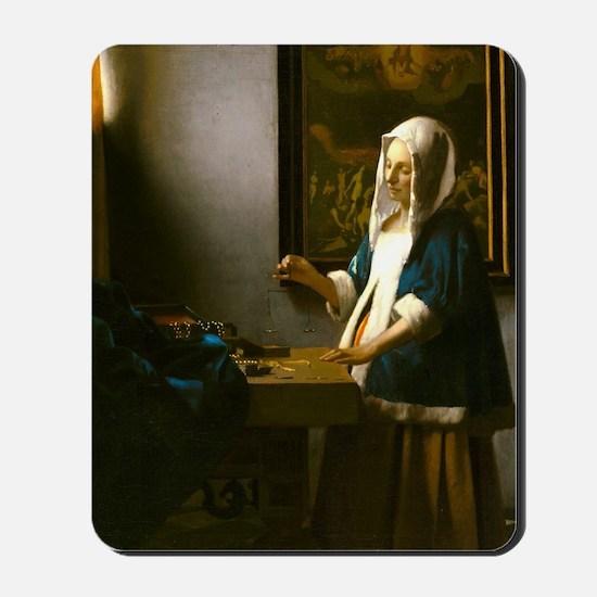Woman Holding a Balance by Johannes Vermeer Mousep