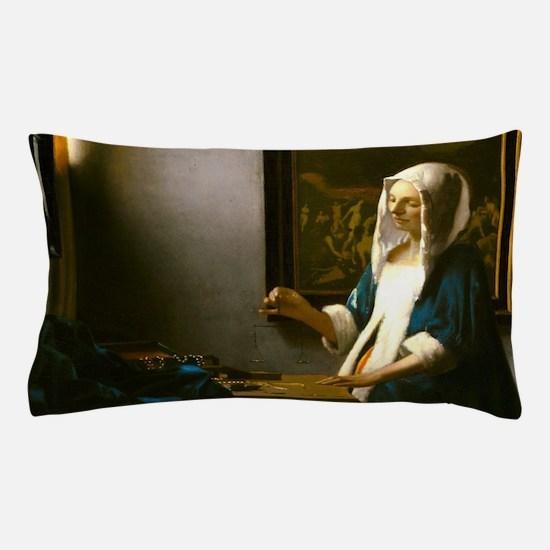 Woman Holding a Balance by Johannes Vermeer Pillow