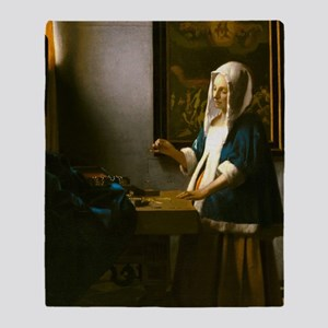 Woman Holding a Balance by Johannes Vermeer Throw
