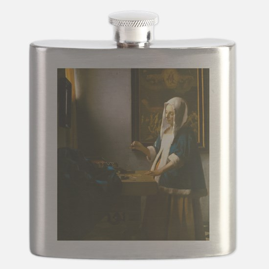 Woman Holding a Balance by Johannes Vermeer Flask