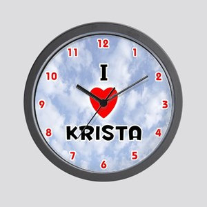 I Love Krista (Red/Blk) Valentine Wall Clock